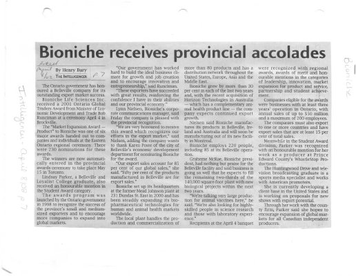 Bioniche receives provincial accolades