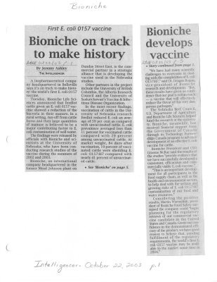 Bioniche on track to make history - Bioniche develops vaccine