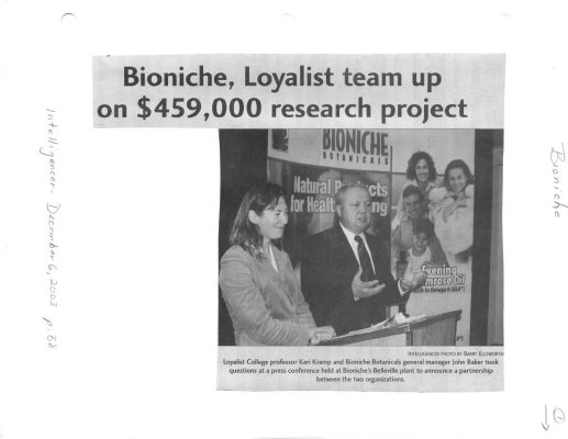 Bioniche, Loyalist team up on $459,000 research project