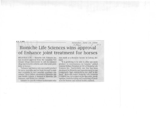Bioniche Life Sciences wins approval of Enhance joint treatment for horses
