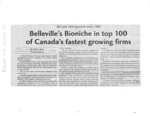 Belleville's Bioniche in top 100 of Canada's fastest growing firms