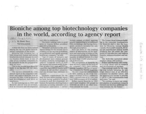 Bioniche among top biotechnology companies in he world, according to agency report