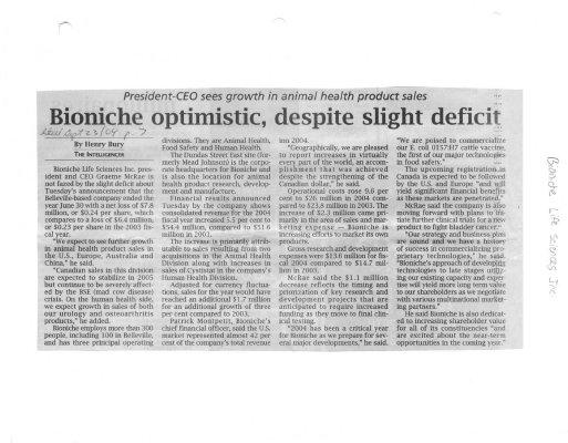 Bioniche optimistic despite slight deficit