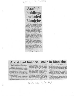Arafat's holdings included Bioniche - Arafat had financial stake in Bioniche
