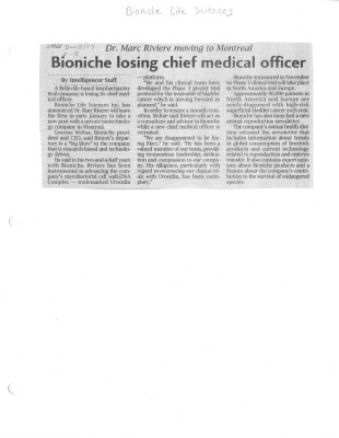 Bioniche losing chief medical officer