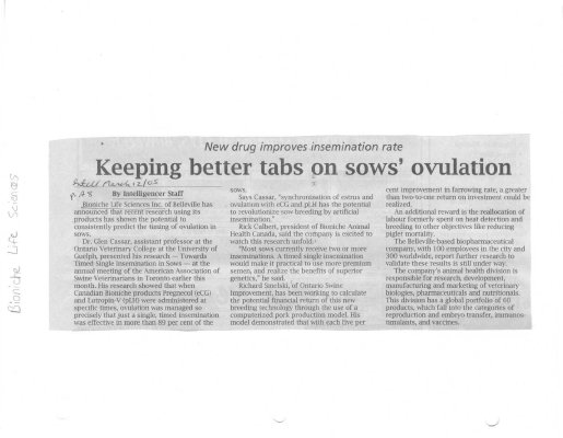 Keeping better tabs on sows' ovulation - Bioniche