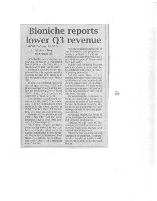 Bioniche reports lower Q3 revenue