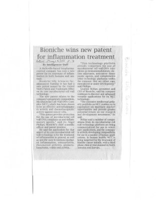 Bioniche wins new patent for inflammation treatment