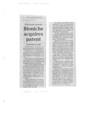 Bioniche acquires patent