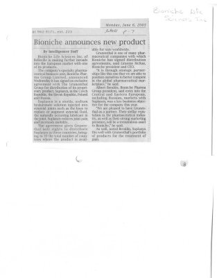 Bioniche announces new product