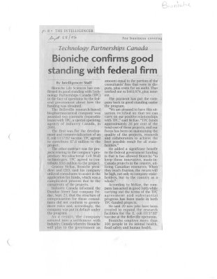 Bioniche confirms good standing with federal firm