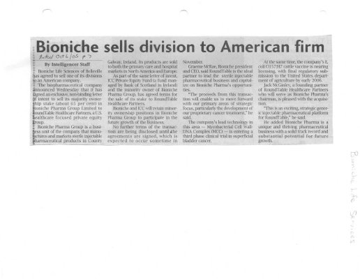 Bioniche sells division to American firm