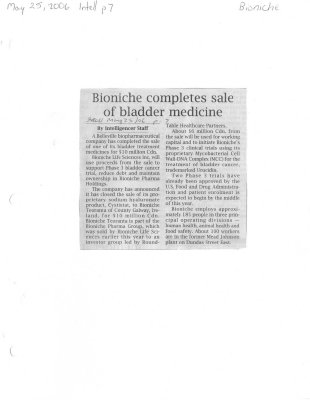 Bioniche completes sale of bladder medicine