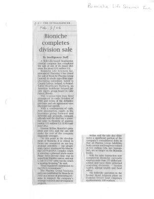 Bioniche completes division sale