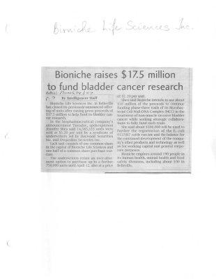 Bioniche raises $17.5 million to fund bladder cancer research