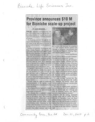 Province announces $10 M for Bioniche scale-up project