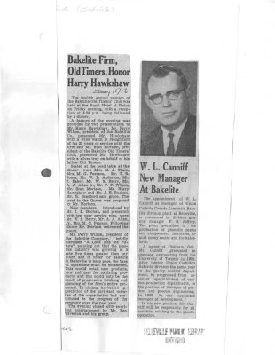 Bakelite firm, old timers, honor Harry Hawkshaw.  W. L. Canniff new manager at Bakelite
