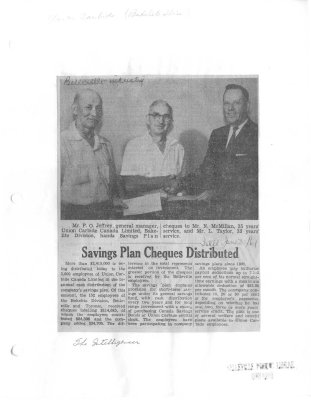 Savings plan Cheques Distributed: Bakelite
