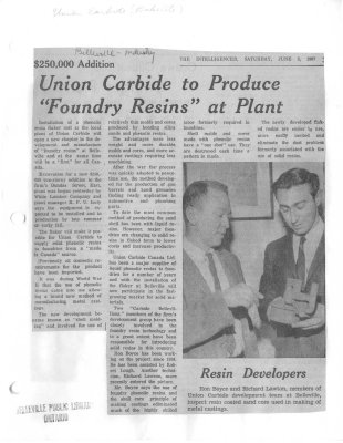"""$250,000 Union Carbide to produce """"foundry resins"""" at plant : Bakelite"""