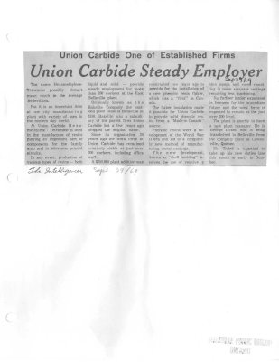 Union Carbide One of established firms:  Union Carbide steady employer (Bakelite)