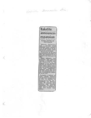 Bakelite announces expansion
