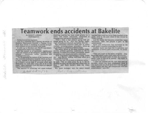 Teamwork ends accidents at Bakelite