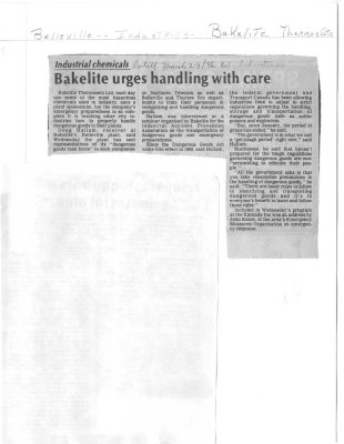 Industrial chemicals: Bakelite urges handling with care