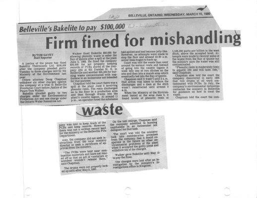 Belleville's Bakelite to pay $100,000: Firm fines for mishandling waste