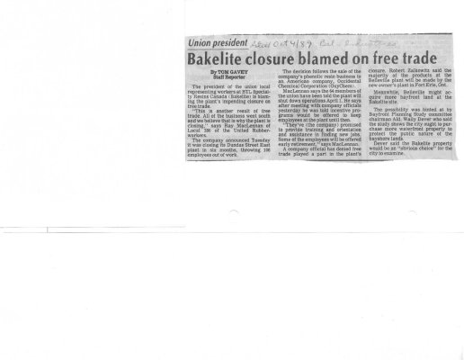 Union president: Bakelite closure blamed on free trade