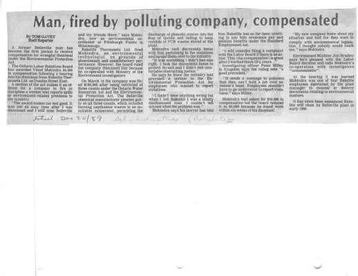 Man, fired by polluting company, compensated