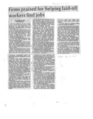 Firms praised for helping laid-off workers find jobs (Bakelite)