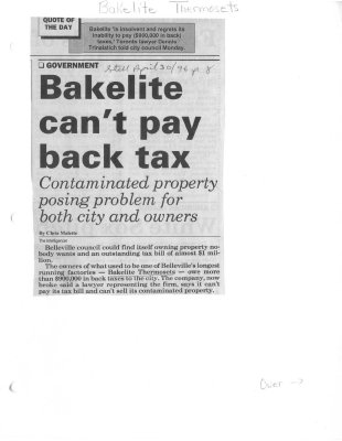 Bakelite can't pay back tax: Contaminated property posing problem for both city and owners