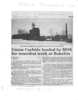 Union Carbide lauded by MOE for remedial work at Bakelite