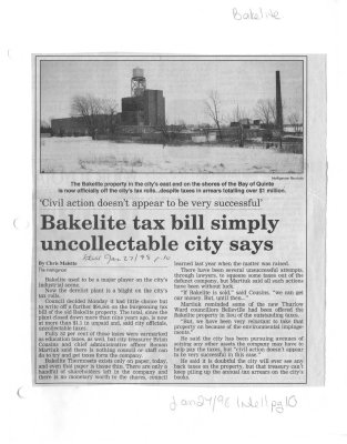 """""""Civil action doesn't appear to be very succesful"""": Bakelite tax bill simply uncollectable city says"""