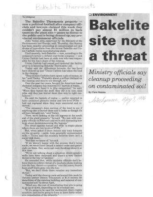 Bakelite site not a threat