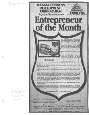 Trenval Business Development Corporation is proud to announce Entrepreneur of the month: Bale-eze