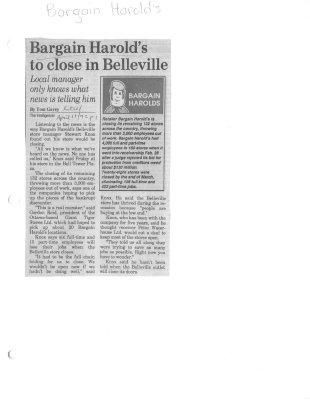 Bargain Harold's to close in Belleville