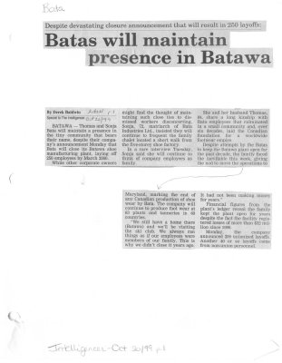 Batas will maintain presence in Batawa