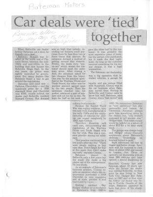 """Remember when: Car deals were """"tied"""" together(Bateman Motors)"""