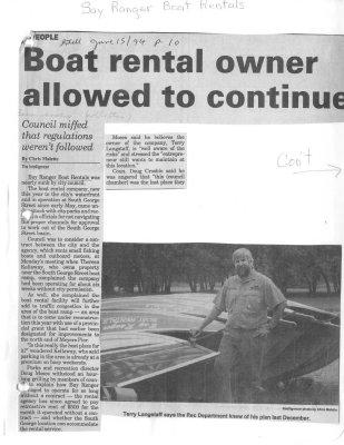 Boat rental owner allowed to continue: Bay Ranger Boat Rentals