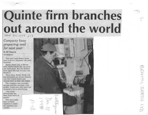 Quinte firm branches out around the world: Beatty Seeds Ltd.