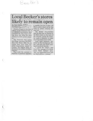 Local Becker's stores likely to remain open