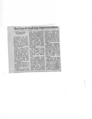 Beclawat making improvements