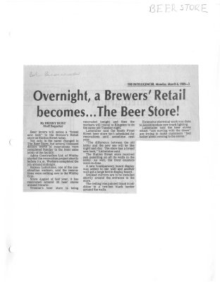 Overnight, a Brewer's retail becomes... The Beer Store!
