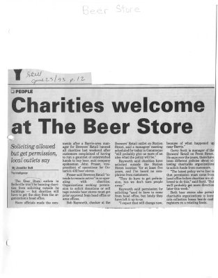 Charities welcome at the Beer Store