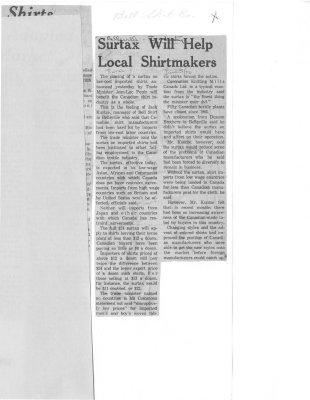 Surtax will help local shirtmakers: Bell Shirt co.