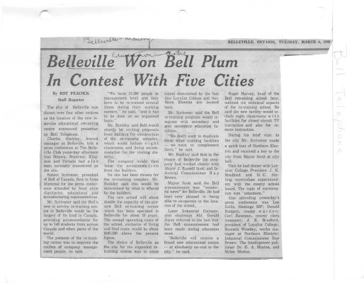 Belleville won Bell Plum in contest with five cities - Bell Telephone