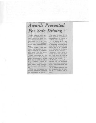 Awards presented for safe driving: Bell Telephone