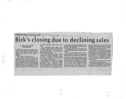 Birk's closing due to declining sales
