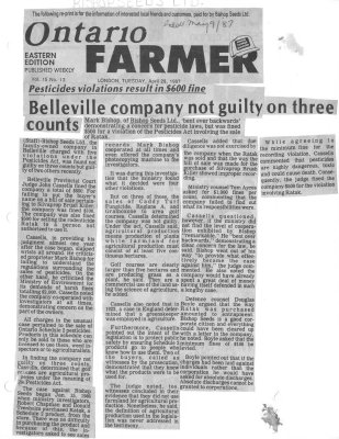 Seed firm feels victimized: Pesticides violations result in $600 fine: Belleville company not guilty on three counts: Bishop Seeds Ltd.